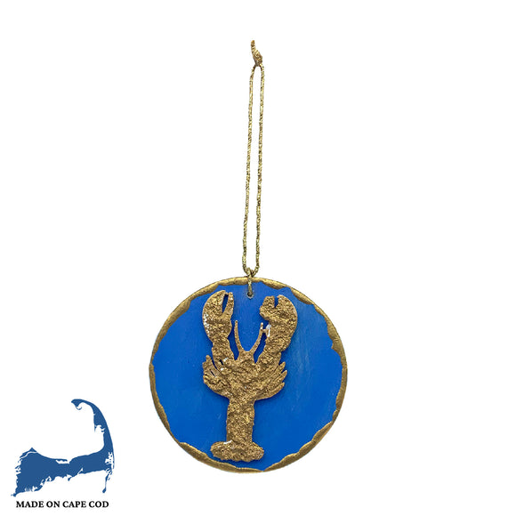 Gold & Blue Lobster Ornament