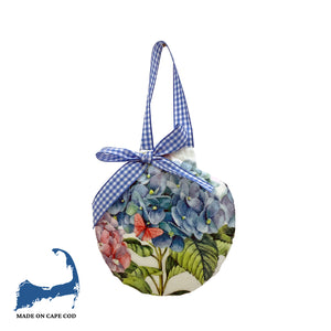 Hydrangeas and Butterflies Decoupage Sea Scallop Ornament