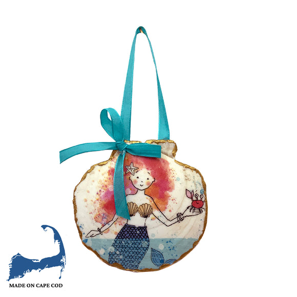 Mermaid Design Decoupage Sea Scallop Ornament