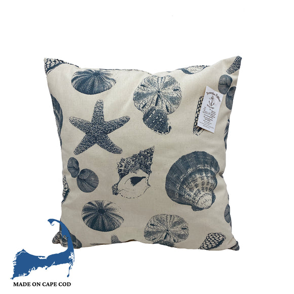 Blue Sea Shells Pattern Pillow