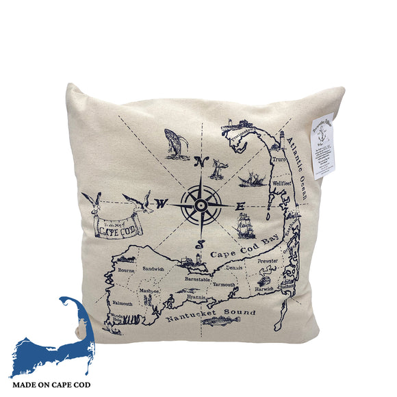 Cape Cod Bay Map Pillow