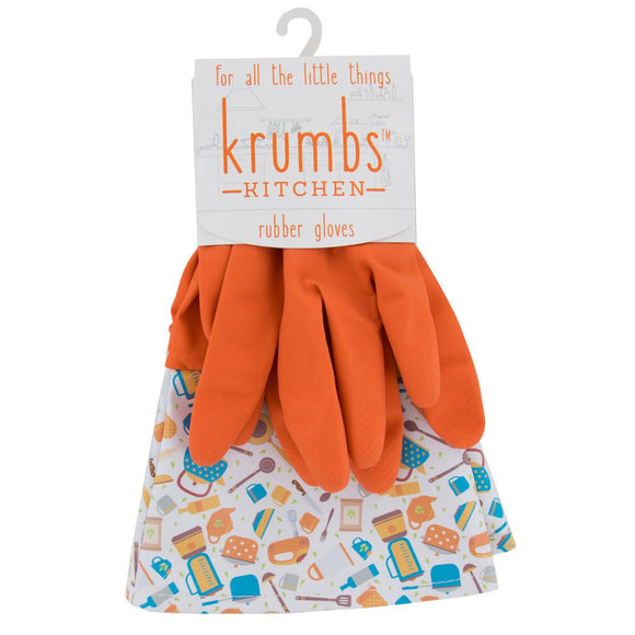 Orange Krumbs Kitchen Rubber Cleaning Gloves