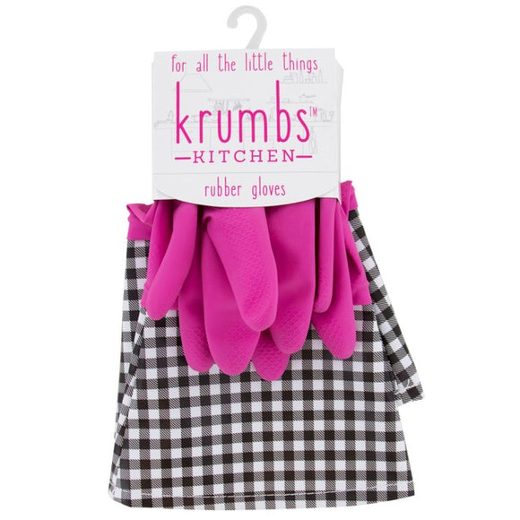 Pink Krumbs Kitchen Rubber Cleaning Gloves