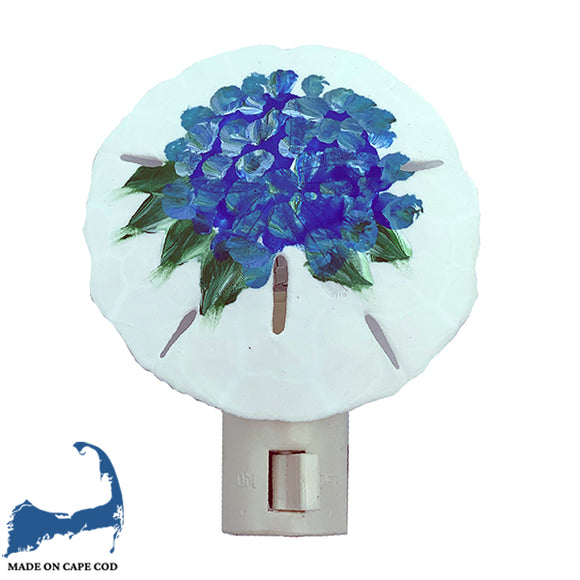 Painted Blue Hydrangea Sand Dollar Night Light
