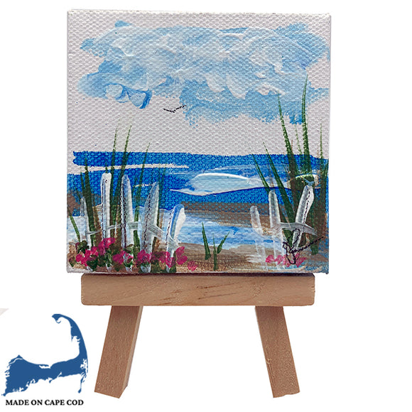 Painted Mini Ocean Scene on Easel
