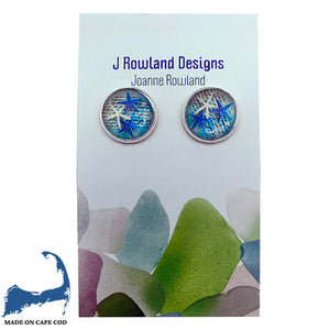 Blue & White Starfish Design Earrings