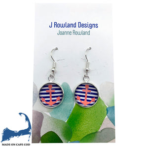 Anchor & Striped Dangle Earrings