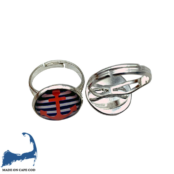Anchor & Striped Adjustable Ring