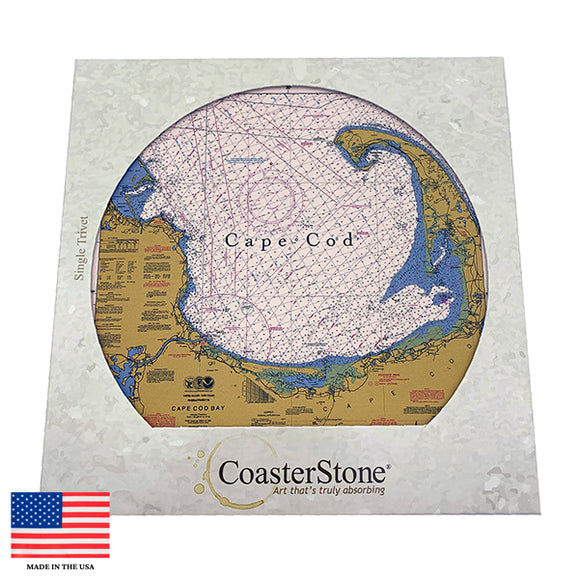 Cape Cod Nautical Chart Stone Trivet