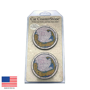 Cape Cod Nautical Chart Stone Car Coaster