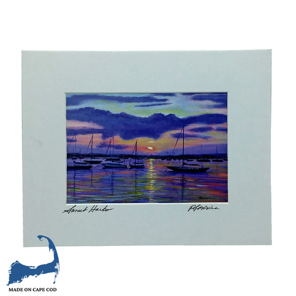 Sunset Harbor Matted Print by Peter Saverine