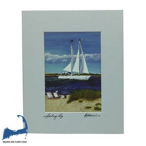 Sailing By Matted Print by Peter Saverine