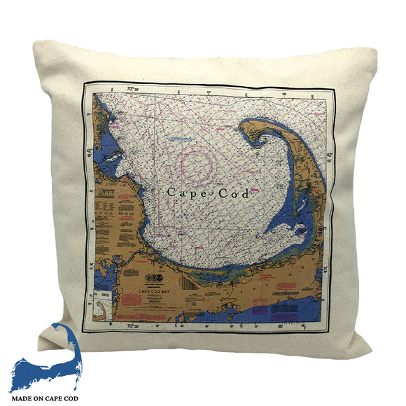 Cape Cod Nautical Chart Pillow