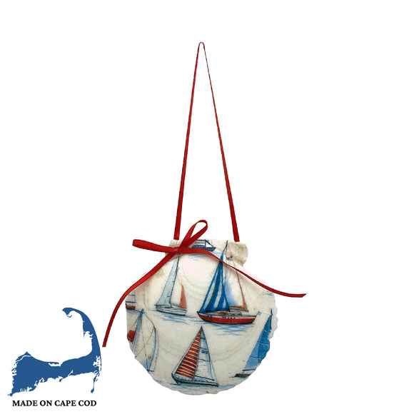 Sailboat Scallop Shell Ornament