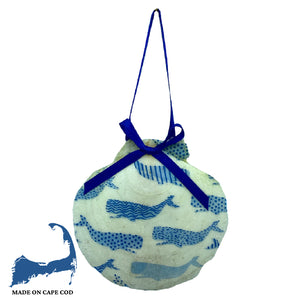 Whale Print Scallop Shell Ornament
