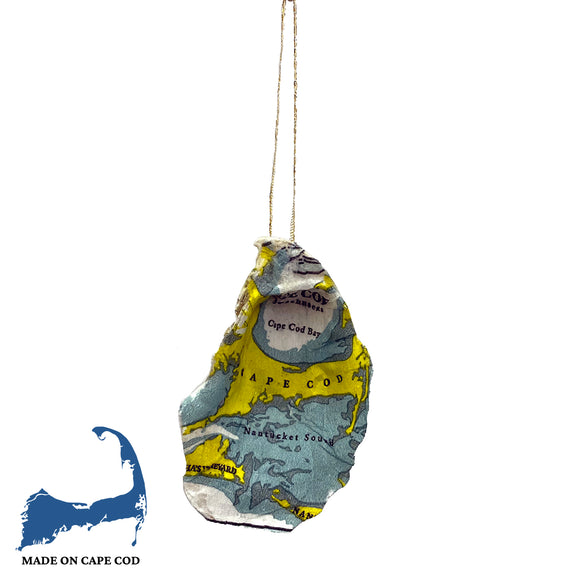 Cape Cod Nautical Map Oyster Shell Ornament