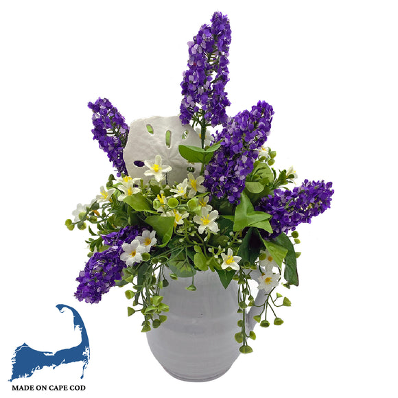 Faux Purple Lupins in Pitcher Vase