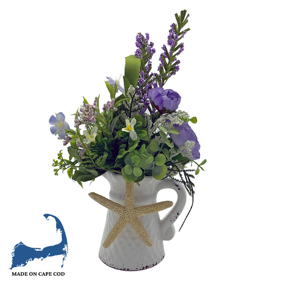 Faux Flowers in Mini Pitcher Vase with Starfish