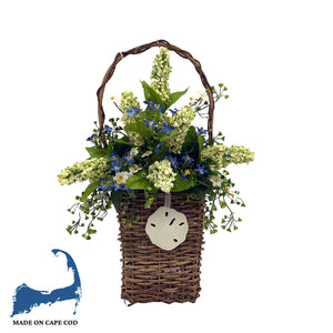 Hanging Faux Blue Lupins Floral Basket