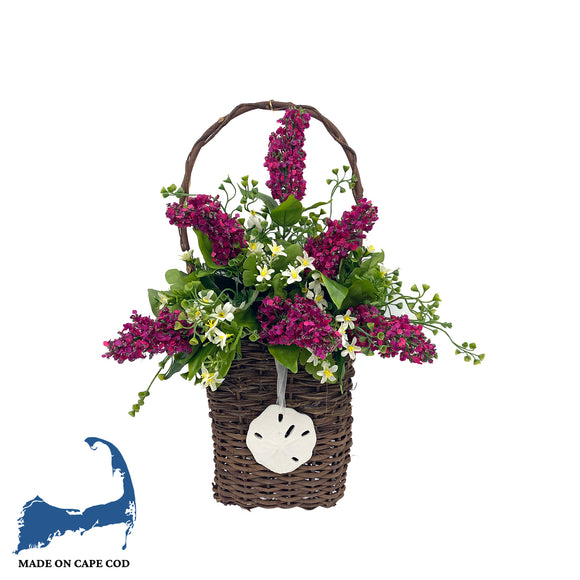 Hanging Faux Red Lupins Floral Basket