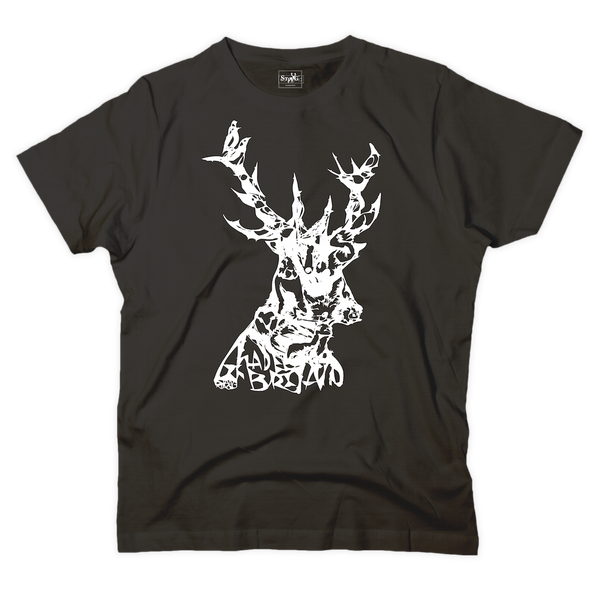 'Animals in stag' graphic black t-shirt