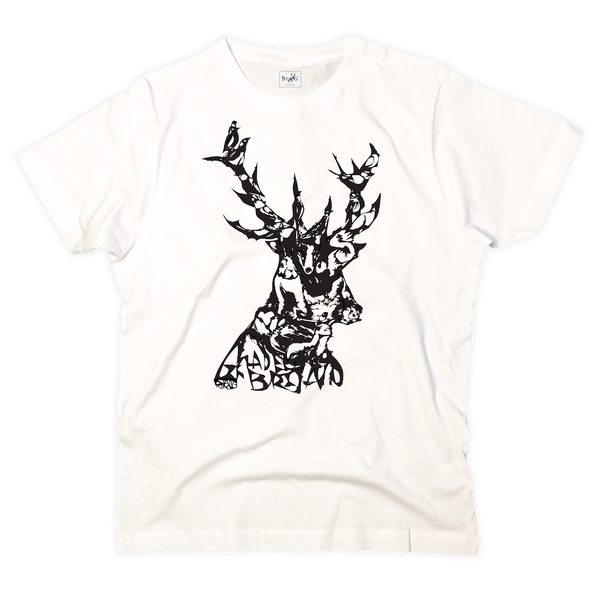'Animals in stag' graphic white t-shirt