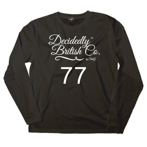 Black long sleeve t-shirt with 'Decidedly British 77' graphic - T-shirt - StaaG®