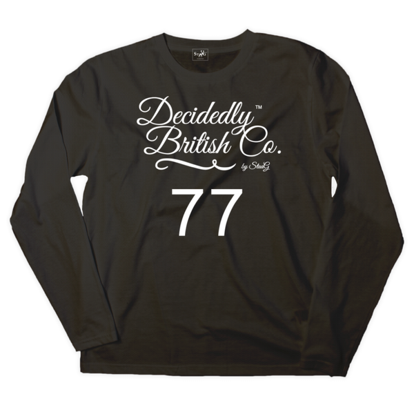 Black long sleeve t-shirt with 'Decidedly British 77' graphic