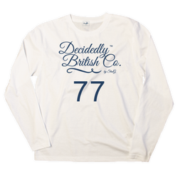 White long sleeve t-shirt with 'Decidedly British 77' graphic - T-shirt - StaaG®
