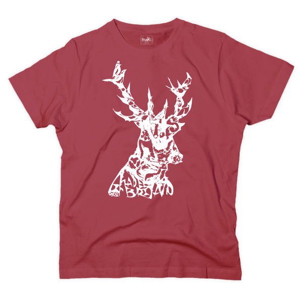 'Animals in stag' graphic red t-shirt