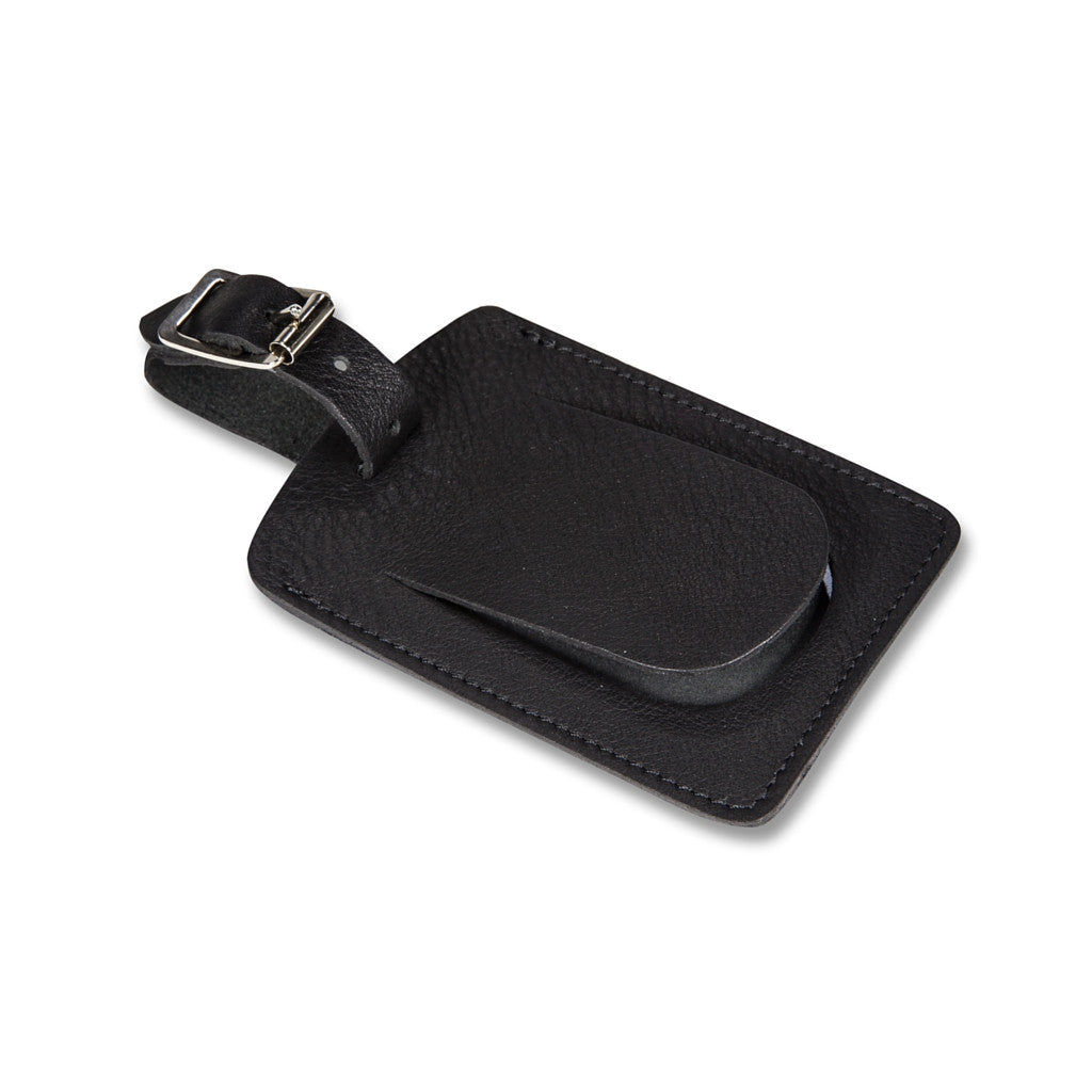Cockburn black leather luggage tag - Leather luggage tag - StaaG®
