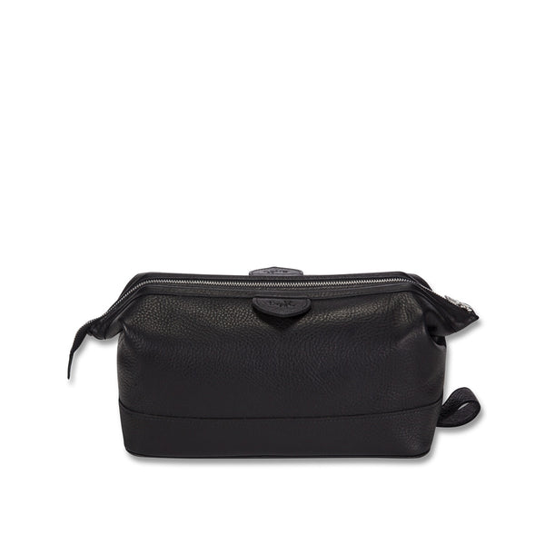 Cockburn black leather wash bag