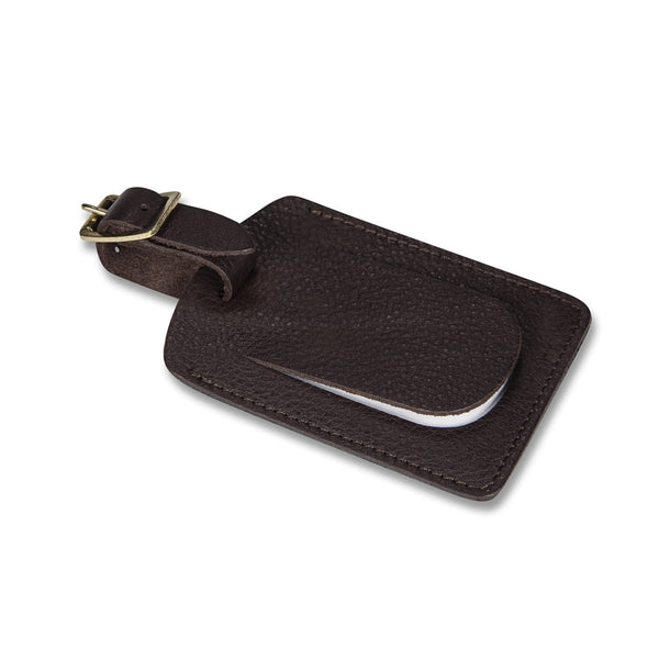 Connaught brown leather luggage tag - Leather luggage tag - StaaG®