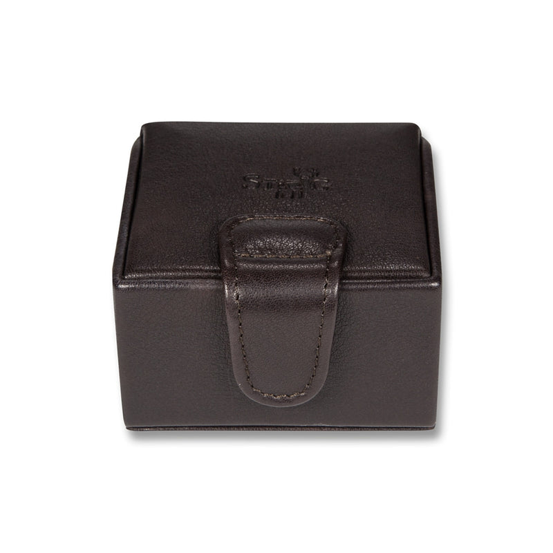 Connaught brown leather cufflink box - Leather cufflinks stud box - StaaG®