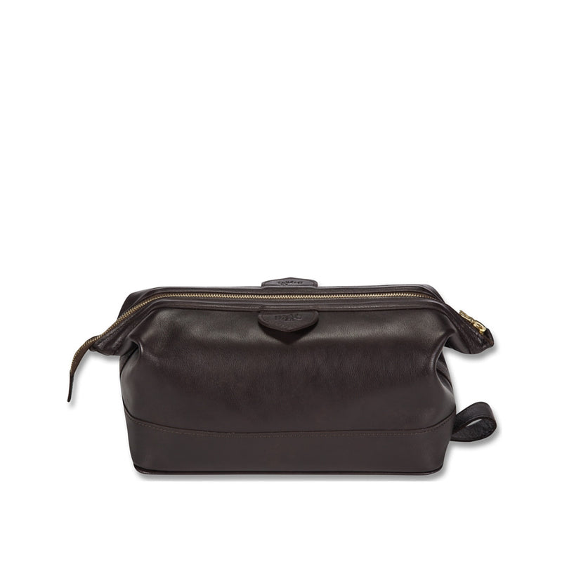 Connaught brown leather wash bag - Leather wash bag - StaaG®