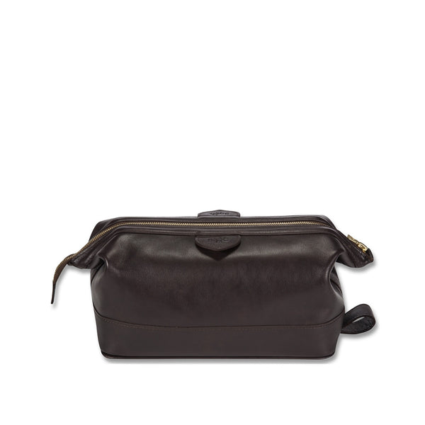 Connaught brown leather wash bag