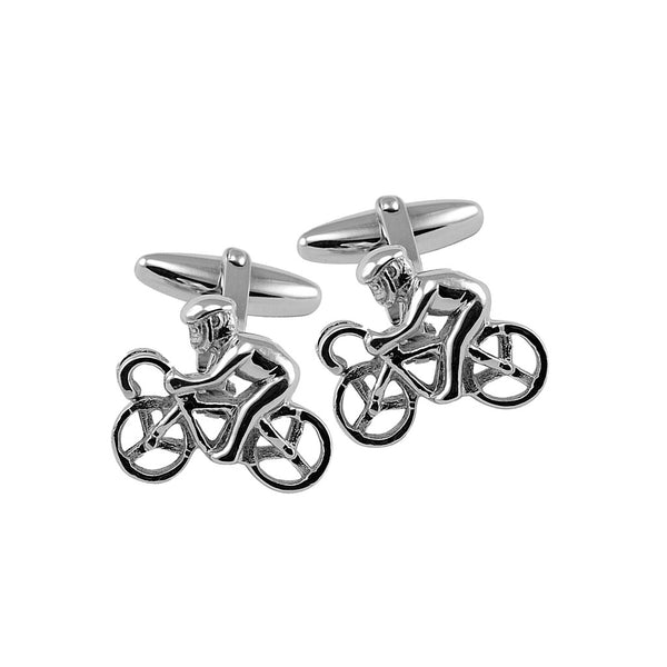 Sterling silver cyclist cufflinks