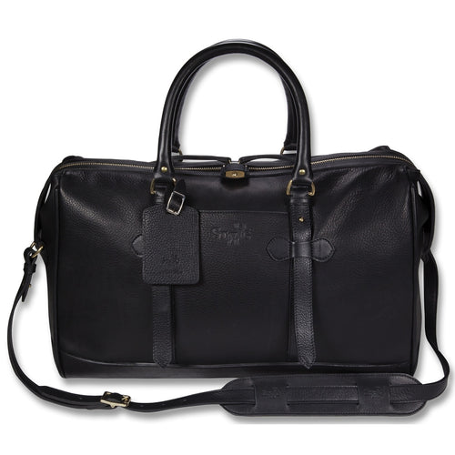 Cockburn black leather overnight bag - Leather overnight bag - StaaG®