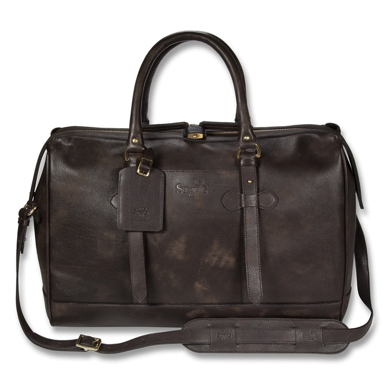 Connaught brown leather overnight bag - Leather overnight bag - StaaG®