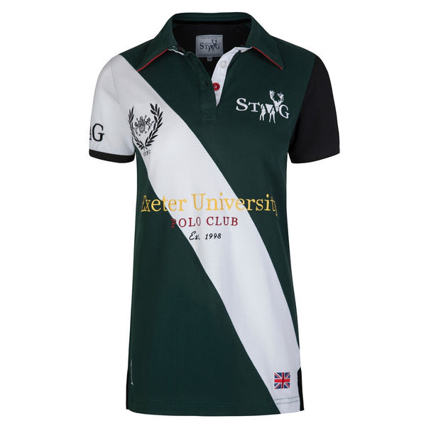 Exeter custom-fit green and white polo shirt (ladies)