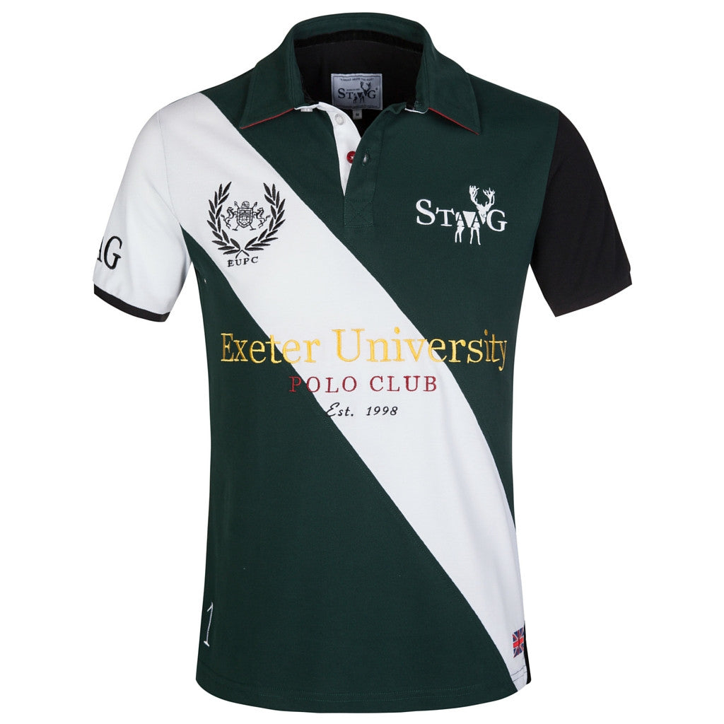 Mens Custom Fit Green And White Polo Shirt Staag