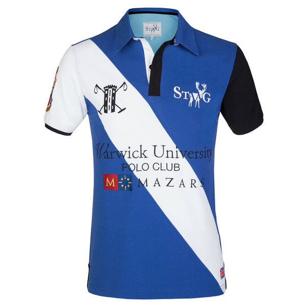 Warwick custom-fit blue and white polo shirt