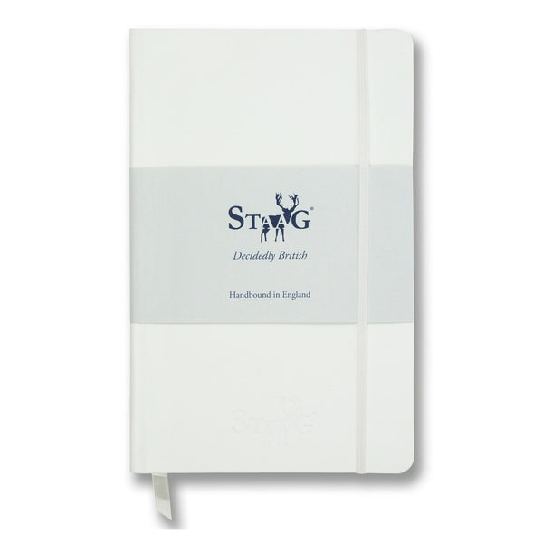 White soft touch lined notebook
