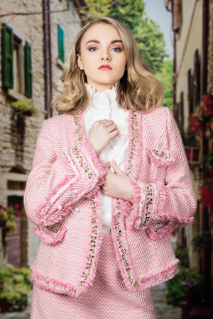 Two Piece Pink and Pearl Suit