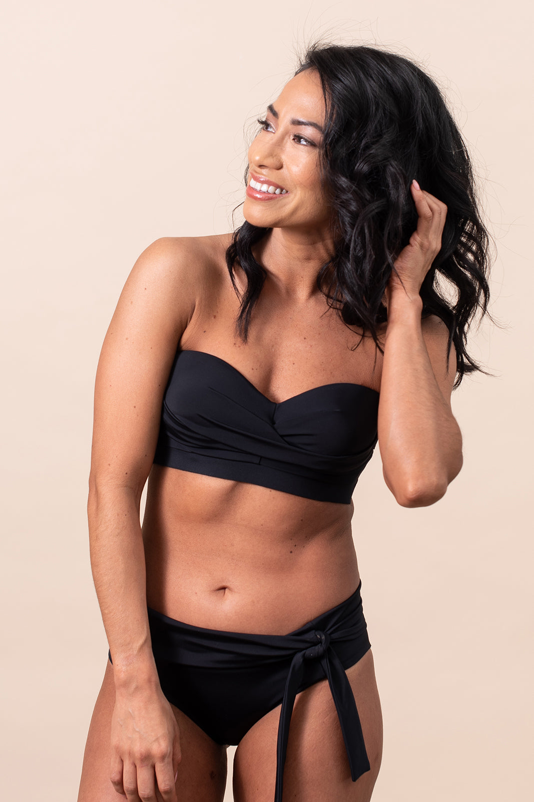 """STAYkini Onyx Twist Front Bikini Top Bathing Suit"""