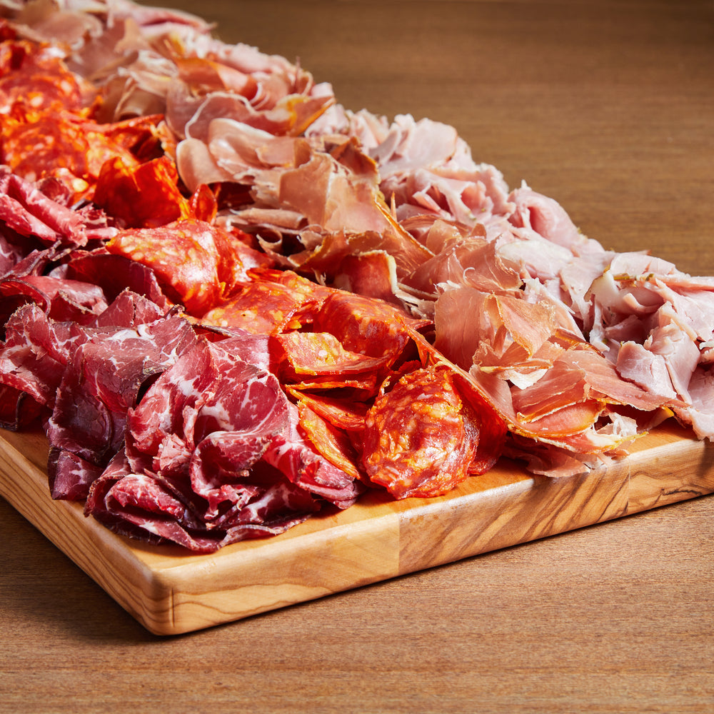 Load image into Gallery viewer, La Fromagerie - catering meat board Serrano ham Chorizo Bresaola Rosemary Ham