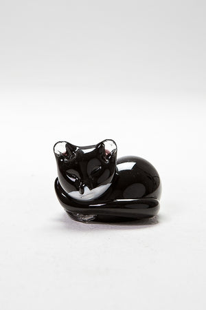 Black Cat Resting, handmade at Langham Glass in Norfolk