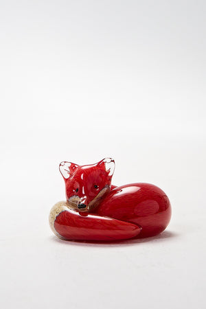 Reating Fox, handmade at Langham Glass Norfolk