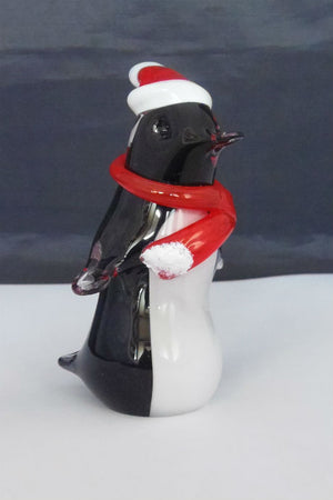 Langham Glass Christmas Penguin with Santa hat and scarf
