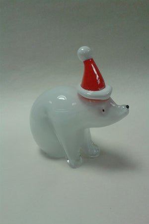 Langham Glass Christmas Polar Bear with Santa Hat